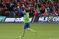 Toronto, ON, Canada - Saturday Dec. 10, 2016: Andreas Ivanschitz celebrates scoring during the penalty kick shootout  during the MLS Cup finals at BMO Field. The Seattle Sounders FC defeated Toronto FC on penalty kicks after playing a scoreless game.