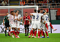 Calcio, Serie A: AC Milan - Cagliari, Giuseppe Meazza (San Siro) stadium, Milan on August 29, 2021.  <br /> Cagliari's players celebrates after Alessandro Deiola's goal during the Italian Serie A football match between Milan and Cagliari at Giuseppe Meazza stadium, on August 29, 2021.  <br /> UPDATE IMAGES PRESS/Isabella Bonotto