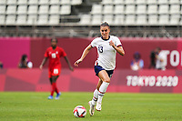 KASHIMA, JAPAN - AUGUST 2: Alex Morgan #13 of the United States controls the ball during a game between Canada and USWNT at Kashima Soccer Stadium on August 2, 2021 in Kashima, Japan.