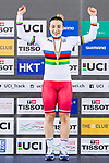 Daria Shmeleva of Russia celebrates winning in the Women's 500 TT Finals' prize ceremony during the 2017 UCI Track Cycling World Championships on 15 April 2017, in Hong Kong Velodrome, Hong Kong, China. Photo by Marcio Rodrigo Machado / Power Sport Images