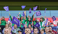 Anderlecht supporters pictured  during a female soccer game between RSC Anderlecht Dames and Standard Femina de Liege on the sixth matchday of the 2021 - 2022 season of Belgian Womens Super League , Saturday 9 th of October 2021  in Brussels , Belgium . PHOTO SPORTPIX | SEVIL OKTEM