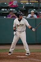 Visalia Rawhide right fielder Stephen Smith (7) at bat during a California League game against the Stockton Ports at Visalia Recreation Ballpark on May 8, 2018 in Visalia, California. Stockton defeated Visalia 6-2. (Zachary Lucy/Four Seam Images)