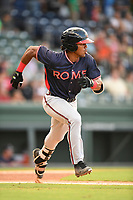 Center fielder Justin Dean (14), a 2018 Braves draft pick from Lenoir-Rhyne, runs out his first hit as a member of the Rome Braves in Game 2 of a doubleheader against the Greenville Drive on Friday, August 3, 2018, at Fluor Field at the West End in Greenville, South Carolina. (Tom Priddy/Four Seam Images)