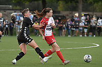 Julie Challe (12) of Sporting du Pays de Charleroi and Summer Rogiers (8) of Zulte Waregem  pictured during a female soccer game between Sporting Charleroi and SV Zulte-Waregem on the third matchday in the 2021 - 2022 season of Belgian Scooore Womens Super League , friday 3 September 2021 in Marcinelle , Belgium . PHOTO SPORTPIX | STIJN AUDOOREN
