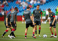 July 16, 2010 Manchester United players warming up during an international friendly between Manchester United and Celtic FC at the Rogers Centre in Toronto.