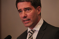 September 29, 2013 File Photo - Former PQ leader Andre Boisclair adress the media over the allegation made by CAQ MNA (and former Montreal Police chief) Jacques Duchesneau about his past drug use, gouvernment subsidy and hypthecial link to criminal organisations,  that made  him asked to be temporarily relieved of his duties as Quebec delegate-general to New York.