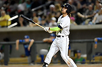 Left fielder Gene Cone (9) of the Columbia Fireflies bats in a game against the Lexington Legends on Saturday, April 22, 2017, at Spirit Communications Park in Columbia, South Carolina. Lexington won, 4-0. (Tom Priddy/Four Seam Images)