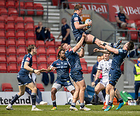 17th April 2021; AJ Bell Stadium, Salford, Lancashire, England; English Premiership Rugby, Sale Sharks versus Gloucester; Cobus Weise of Sale Sharks wins a lineout