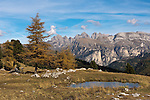 Italy, South Tyrol, Alto Adige, Dolomites, autumn scenery at Passo Sella mountain passroad, at background Le Odle mountains | Italien, Suedtirol, Dolomiten, Herbststimmung am Sellajoch, im Hintergrund die Geislerspitzen