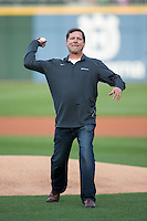 Husqvarna Vice President of Sales Jeff Dewosky throws out a ceremonial first pitch prior to the International League game between the Durham Bulls and the Charlotte Knights at BB&T BallPark on April 14, 2016 in Charlotte, North Carolina.  The Bulls defeated the Knights 2-0.  (Brian Westerholt/Four Seam Images)