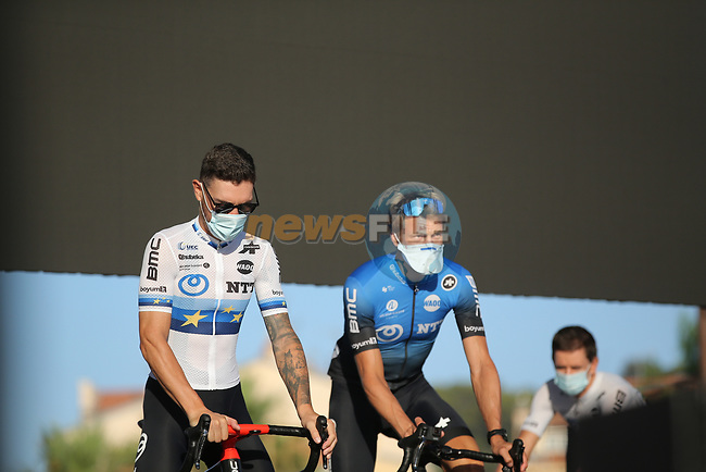Newly crowned European Champion Giacomo Nizzolo (ITA)and Edvald Boasson Hagen (NOR) NTT Pro Cycling on stage at the team presentation before the Tour de France 2020, Nice, France. 27th August 2020.<br /> Picture: ASO/Thomas Maheux | Cyclefile<br /> All photos usage must carry mandatory copyright credit (© Cyclefile | ASO/Thomas Maheux)
