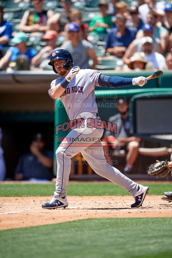 Carl Chester (11) of the Round Rock Express at bat against the Salt Lake Bees at Smith's Ballpark on May 31, 2021 in Salt Lake City, Utah. The Express defeated the Bees 8-6. (Stephen Smith/Four Seam Images)