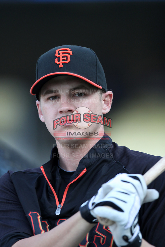 San Francisco Giants infielder Brett Pill #6 before a game against the Los Angeles Dodgers at Dodger Stadium on September 20, 2011 in Los Angeles,California. Los Angeles defeated San Francisco 2-1.(Larry Goren/Four Seam Images)