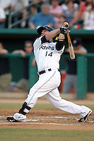 Jarrett Hoffpauir #14 of the Tucson Padres plays in a Pacific Coast League game against the Tacoma Rainiers at Kino Stadium on June 4, 2011  in Tucson, Arizona. .Photo by:  Bill Mitchell/Four Seam Images.