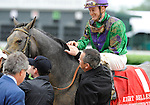 10 May 1: Buckleupbuttercup (no. 1), ridden by Julien Leparoux and trained by Eddie Kenneally, wins the 55th running of the grade 3 Eight Belles Stakes for three year old fillies at Churchill Downs in Louisville, Kentucky.