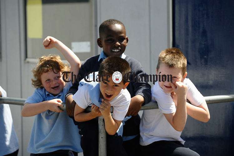 Having fun at breaktime in Scoil Criost Ri Cloughleigh. Photograph by John Kelly.