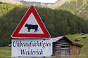 'Unbeaufsichtigtes Weidevieh' / 'Unattended Grazing Livestock' sign in alpine pasture. Nordtirol, Austrian Alps. July.