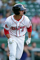 Second baseman Nick Yorke (4), 2020 Boston Red Sox first-round draft pick, gets a hit in his first at bat in his High-A debut with the Greenville Drive in a game against the Hickory Crawdads on Tuesday, August 24, 2021, at Fluor Field at the West End in Greenville, South Carolina. (Tom Priddy/Four Seam Images)