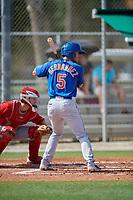 GCL Mets third baseman Kenny Hernandez (5) at bat during a game against the GCL Cardinals on July 23, 2017 at Roger Dean Stadium Complex in Jupiter, Florida.  GCL Cardinals defeated the GCL Mets 5-3.  (Mike Janes/Four Seam Images)