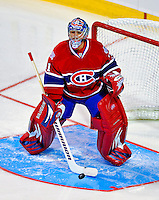24 January 2009: Montreal Canadiens goaltender Carey Price warms up prior to the NHL SuperSkills Competition, part of the All-Star Weekend at the Bell Centre in Montreal, Quebec, Canada. ***** Editorial Sales Only ***** Mandatory Photo Credit: Ed Wolfstein Photo