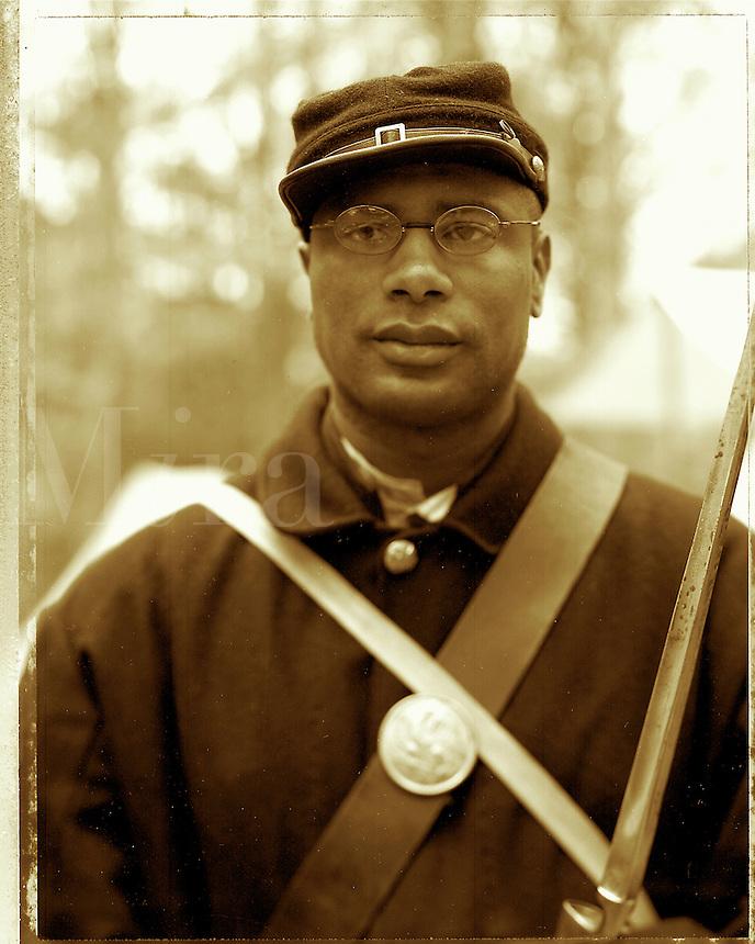 Black Civil War soldier, Stone Mountain, GA near Atlanta. Stone Mountain, Georgia.