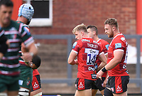 30th August 2020; Kingsholm Stadium, Gloucester, Gloucestershire, England; English Premiership Rugby, Gloucester versus Leicester Tigers; Ollie Thorley of Gloucester celebrates with his team after scoring on scoring his second try