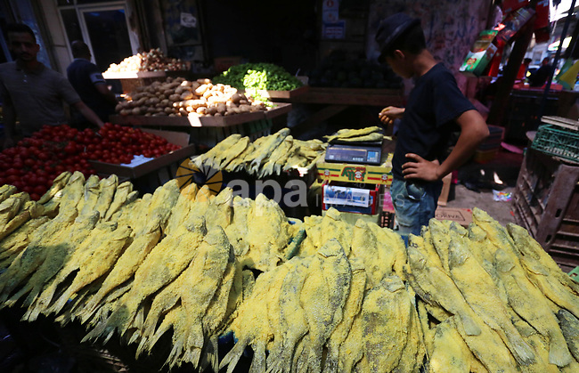 A Palestinian vendor displays salted fish at a market a few days ahead of Eid al-Fitr holiday in Gaza city on June 2, 2019. Eid al-Fitr marks the end of Muslim's holy fasting month of Ramadan when faithfuls abstain from eating, drinking, smoking and sexual activities from dawn to dusk. Photo by Ashraf Amra