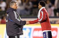 Seattle Sounders head coach Sigi Schmid shakes hans with Chivas USA's Maykel Galindo. Chivas USA defeated the Seattle Sounders 1-0 at Home Depot Center stadium in Carson, California on Saturday evening June 6, 2009.   .