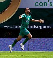 BOGOTA-COLOMBIA, 10-10-2020: Jhon Edison Garcia de La Equidad, corre a celebrar el gol anotado a Once Caldas, durante partido entre La Equidad y Once Caldas, de la fecha 13 por la Liga BetPlay DIMAYOR 2020, jugado en el estadio Metropolitano de Techo en la ciudad de Bogota. / Jhon Edison Garcia of La Equidad runs to celebrate the scored goal to Once Caldas, during a match La Equidad and Once Caldas, of the 13th date for BetPlay DIMAYOR League 2020 at the Metropolitano de Techo stadium in Bogota city. / Photo: VizzorImage  / Samuele Norato / Cont.