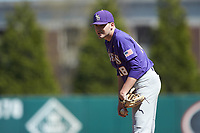 LSU Tigers starting pitcher Cole Henry (18) looks to his catcher for the sign against the Georgia Bulldogs at Foley Field on March 23, 2019 in Athens, Georgia. The Bulldogs defeated the Tigers 2-0. (Brian Westerholt/Four Seam Images)