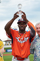 Palm Beach Cardinals Randy Arozarena holds up the Florida State League All-Star Game Home Run Derby Championship Trophy on June 17, 2017 at Joker Marchant Stadium in Lakeland, Florida.  Arozarena won the home run derby with five home runs after the finals were called due to inclement weather.  FSL North All-Stars  defeated the FSL South All-Stars  5-2.  (Mike Janes/Four Seam Images)