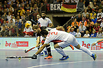 Berlin, Germany, February 10: During the FIH Indoor Hockey World Cup semi-final match between Germany (black) and Iran (white) on February 10, 2018 at Max-Schmeling-Halle in Berlin, Germany. Final score 6-2. (Photo by Dirk Markgraf / www.265-images.com) *** Local caption *** Martin HAENER #6 of Germany