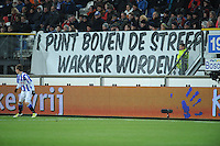 VOETBAL: HEERENVEEN: Abe Lenstra Stadion, 23-02-2013, SC Heerenveen - FC Twente, Eindstand 2-1, spandoek met tekst '1 punt boven de streep! wakker worden!', ©foto Martin de Jong