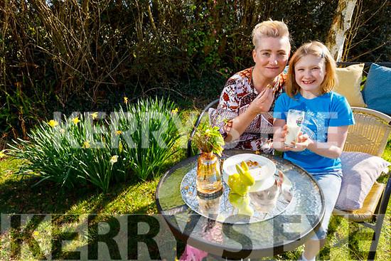 Saídhbh Amira with her mom Davina O'Connell Hanley enjoying their outdoor breakfast at their home in Kilmorna Listowel on Tuesday.