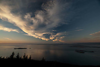 Dusk from Stone Tower at Summit of Mt. Constitution, Moran State Park, Orcas Island, San Juan Islands, Washington, US