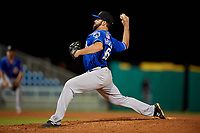 Biloxi Shuckers relief pitcher Luke Barker (16) during a Southern League game against the Pensacola Blue Wahoos on May 3, 2019 at Admiral Fetterman Field in Pensacola, Florida.  Pensacola defeated Biloxi 10-8.  (Mike Janes/Four Seam Images)