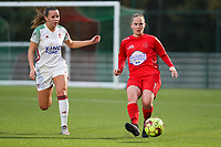 (Left to right) Hannah Eurlings of OHL (9) and Stefanie Deville of Woluwe (3) in action  during a female soccer game between Oud Heverlee Leuven and Femina White Star Woluwe  on the 5 th matchday of the 2020 - 2021 season of Belgian Womens Super League , Sunday 18 th of October 2020  in Heverlee , Belgium . PHOTO SPORTPIX.BE | SPP | SEVIL OKTEM