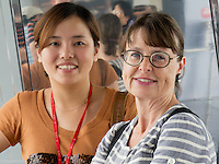 Isabelle and Emily at the Shanghai World Financial Center Observatory -- 474 meters.