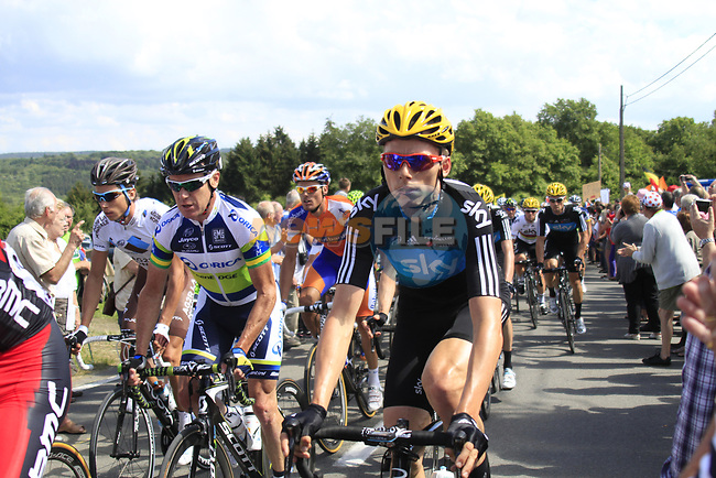 The peloton including Christian Knees (GER) Sky Procycling and Stuart O'Grady (AUS) Orica GreenEdge climbs the Cote De Barvaux during Stage 1 of the 99th edition of the Tour de France, running 198km from Liege to Seraing, Belgium. 1st July 2012.<br /> (Photo by Eoin Clarke/NEWSFILE)