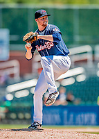 18 July 2018: New Hampshire Fisher Cats pitcher Josh DeGraaf on the mound against the Trenton Thunder at Northeast Delta Dental Stadium in Manchester, NH. The Thunder defeated the Fisher Cats 3-2 concluding a previous game started April 29. Mandatory Credit: Ed Wolfstein Photo *** RAW (NEF) Image File Available ***