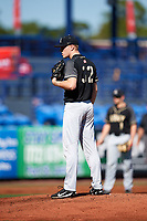 Army West Point starting pitcher Sam Messina (32) looks in for the sign during a game against the Michigan Wolverines on February 18, 2018 at First Data Field in St. Lucie, Florida.  Michigan defeated Army 7-3.  (Mike Janes/Four Seam Images)