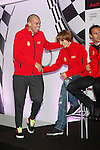 Real Madrid players Pepe (l) and Luka Modric participate and receive new Audi during the presentation of Real Madrid's new cars made by Audi at the Jarama racetrack on November 8, 2012 in Madrid, Spain.(ALTERPHOTOS/Harry S. Stamper)