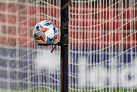 WASHINGTON, DC - MAY 13: A Adidas soccer ball sits on the stand during a game between Chicago Fire FC and D.C. United at Audi FIeld on May 13, 2021 in Washington, DC.