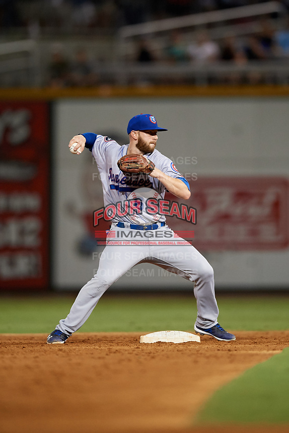 Tennessee Smokies second baseman Trent Giambrone (6) throws to first base to complete a double play during a game against the Birmingham Barons on August 16, 2018 at Regions FIeld in Birmingham, Alabama.  Tennessee defeated Birmingham 11-1.  (Mike Janes/Four Seam Images)