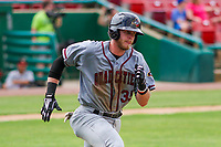 Quad Cities River Bandits first baseman Seth Beer (35) runs to first base during a Midwest League game against the Kane County Cougars on July 1, 2018 at Northwestern Medicine Field in Geneva, Illinois. Quad Cities defeated Kane County 3-2. (Brad Krause/Four Seam Images)