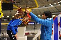 SCHAATSEN: HEERENVEEN: IJsstadion Thialf, 30/31-01-15, Viking Race, Internationaal Jeugdtoernooi 11-16 jaar, Femke Kok (G-FR), Kai Verbij, ©foto Martin de Jong