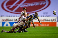 13th November 2020; The Halliwell Jones Stadium, Warrington, Cheshire, England; Betfred Rugby League Playoffs, Catalan Dragons versus Leeds Rhinos; Robert Lui of Leeds Rhinos is tackled
