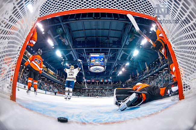 October 22, 2021; Hockey goal against RIT at the Compton Family Ice Arena. (photo by Matt Cashore/University of Notre Dame)