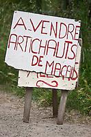 Europe/France/Aquitaine/33/Gironde/Macau: Panneau vente à la ferme artichaut de Macau