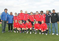 Freedom starting eleven with visiting coaches before a WPS match between the Washington Freedom and the Chicago Red Stars at Maryland Soccerplex on April 11 2009, in Boyd's, Maryland.  The game ended in a 1-1 tie.